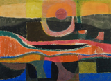 Sun and River, 1949, by George Morrison. Watercolor and crayon on paper, 15 × 21 in. From the permanent collection of the Plains Art Museum, Fargo, North Dakota. Museum Purchase.