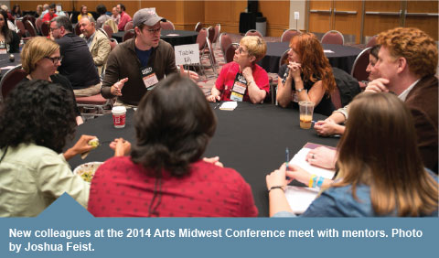 New colleagues meet with mentors at the 2014 Arts Midwest Conference. Photo by Joshua Feist.
