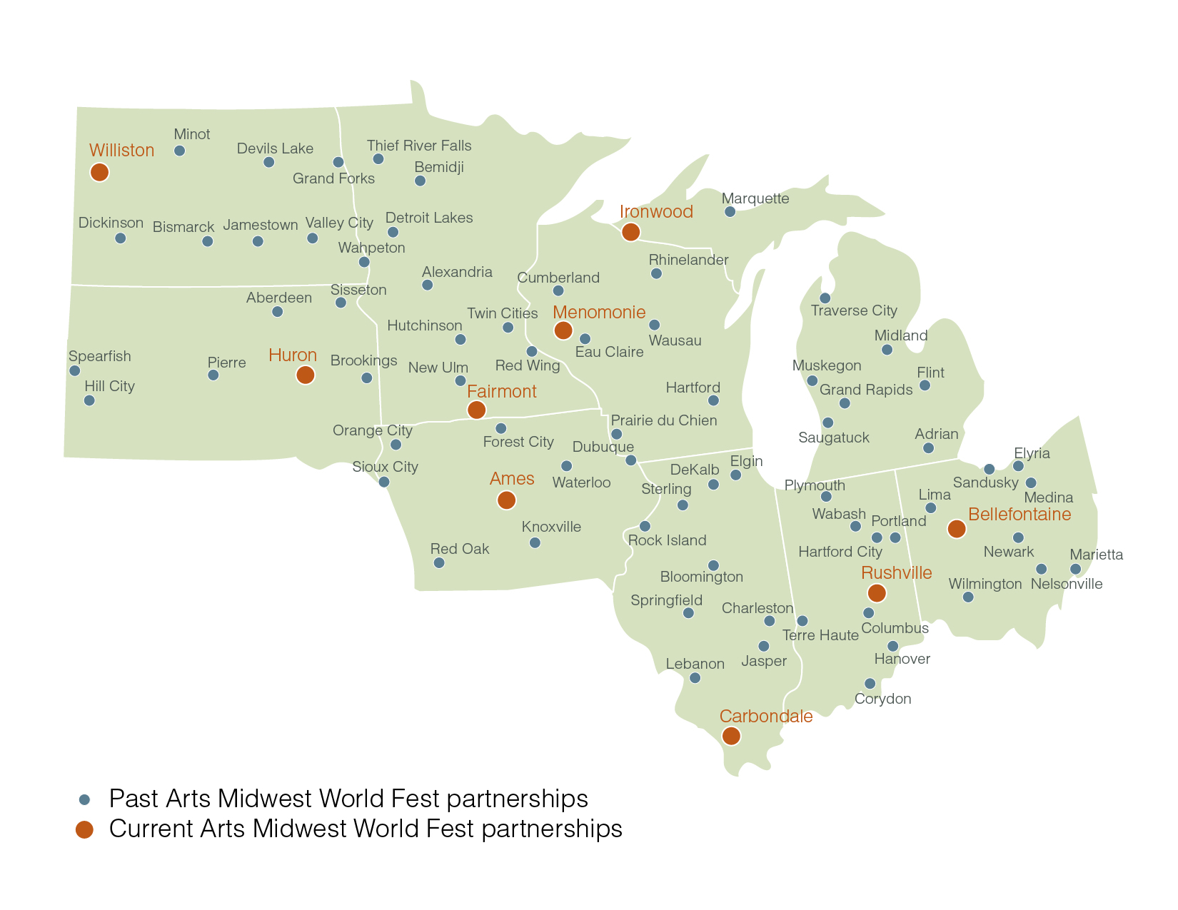 Map of past and current Arts Midwest World Fest partner communities.