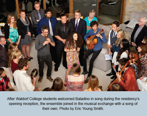 After Waldorf College students welcomed Baladino in song during the residency's opening reception, the ensemble joined in the musical exchange with a song of their own. Photo by Eric Young Smith.