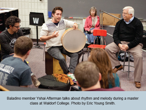 Baladino member Yshai Afterman talks about rhythm and melody during a master class at Waldorf College. Photo by Eric Young Smith.