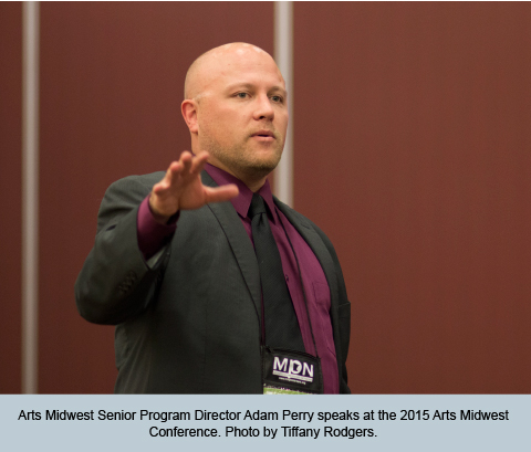 Arts Midwest Senior Program Director Adam Perry speaks at the 2015 Arts Midwest Conference. Photo by Tiffany Rodgers.
