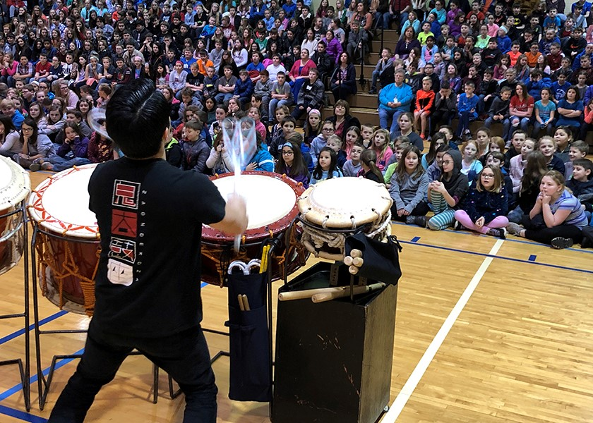 "The first BANG! ""WOW!"" Students are captivated by the strong sounds of Taiko."