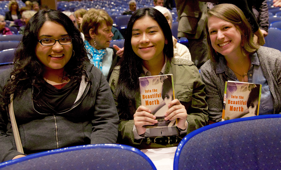 Students in theater seats with their Big Read books
