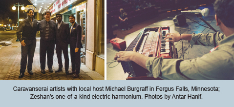 Caravanserai artists with local host Michael Burgraff in Fergus Falls, Minnesota; Zeshan's one-of-a-kind electric harmonium. Photos by Antar Hanif.