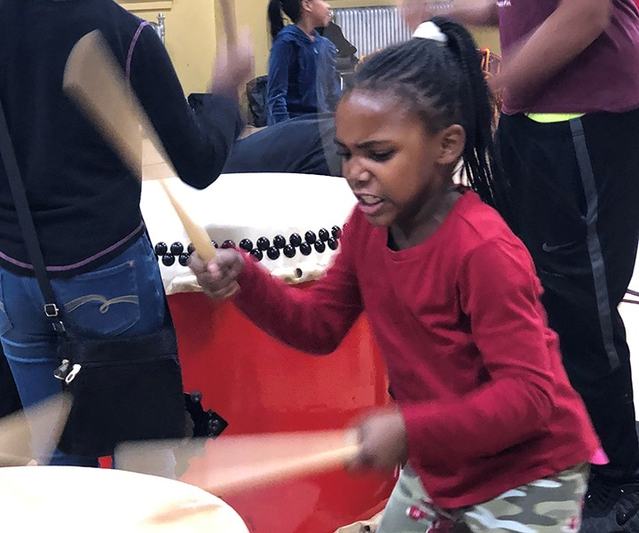 Students love playing the Taiko drums!