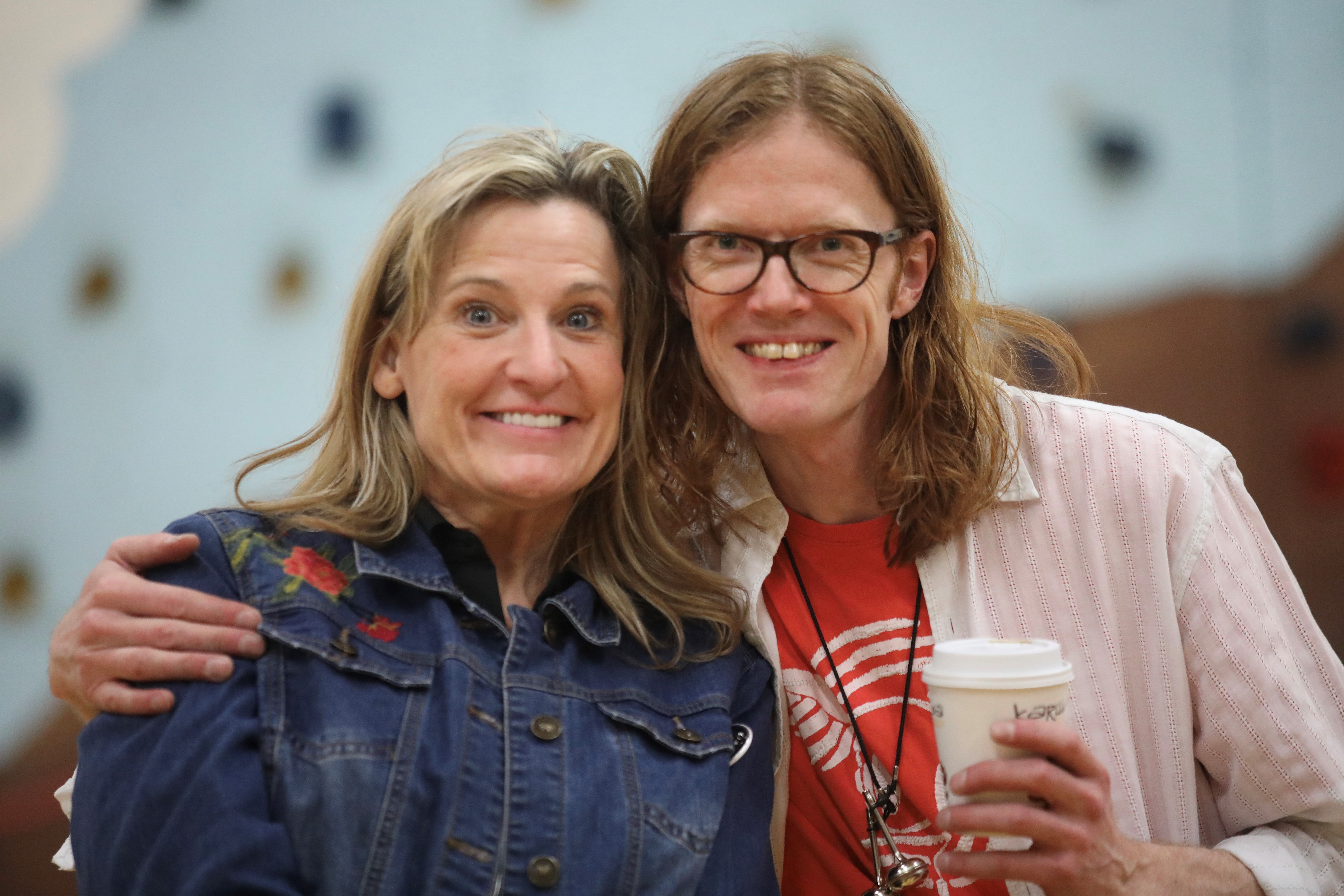 Jennifer Staley of the Sheldon Theatre and Kenneth just before the Sunnyside Elementary Workshop.