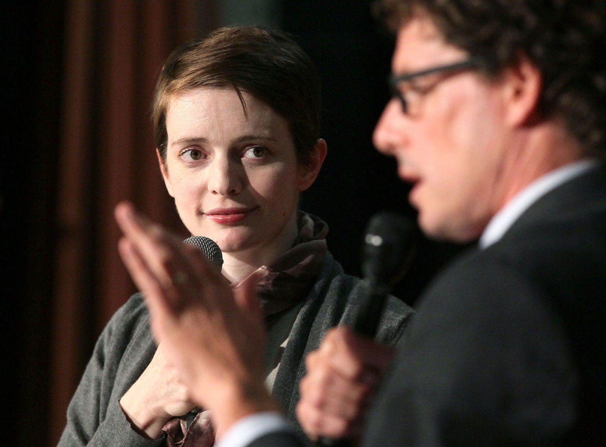 Author Emily St. John Mandel with microphone