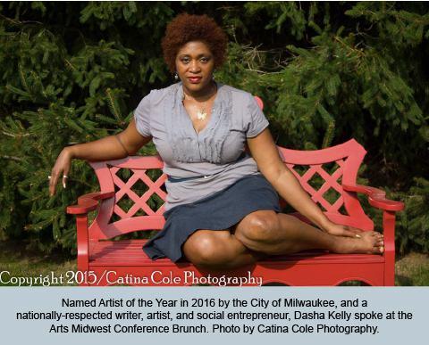Named Artist of the Year in 2016 by the City of Milwaukee, and  a nationally-respected writer, artist, and social entrepreneur, Dasha Kelly spoke at the Arts Midwest Conference Brunch. Photo by Catina Cole Photography.