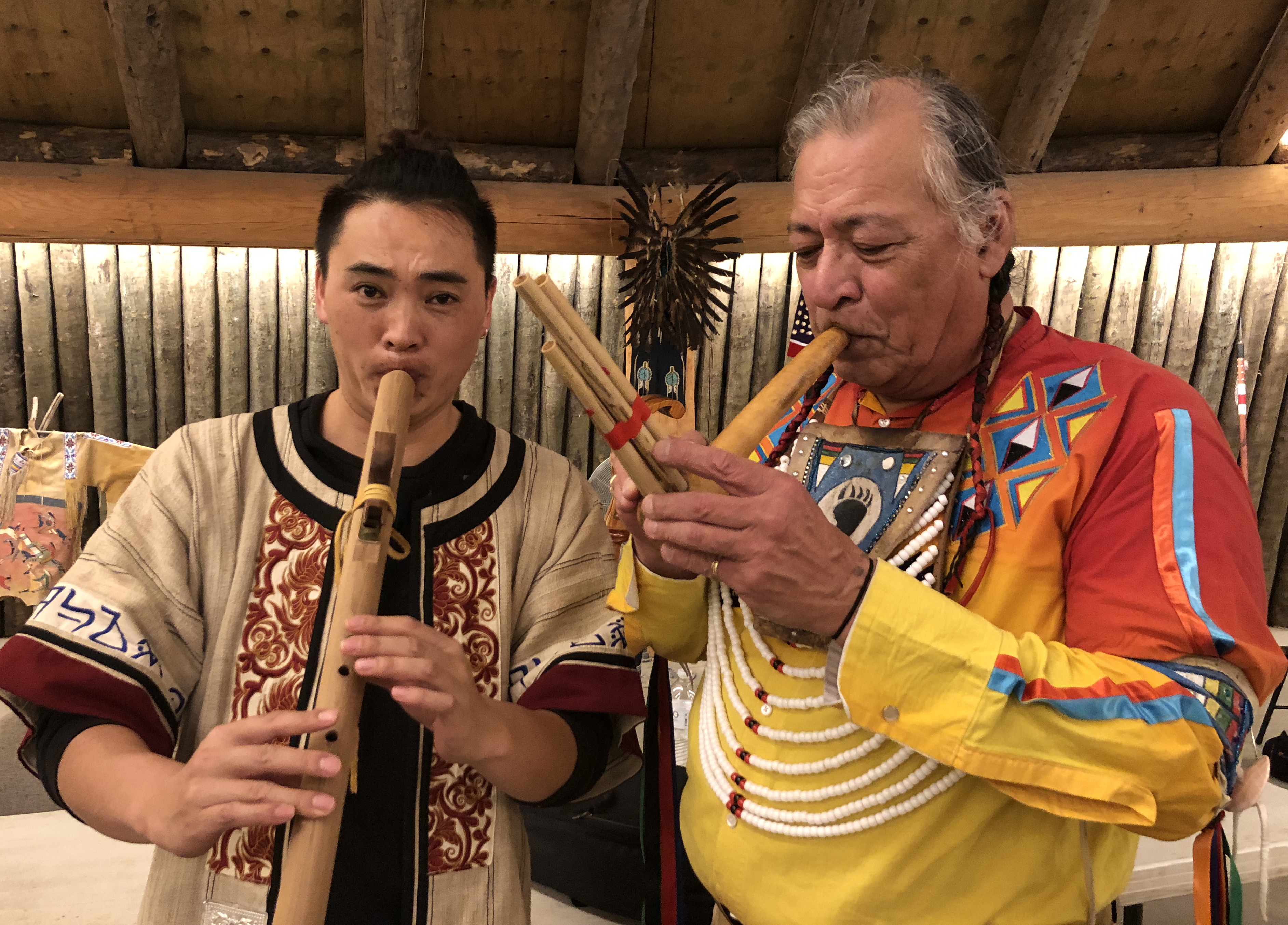 Keith Bear plays hulusi and Wang Tao plays native flute made by Kieth Bear. Keith gifted his hand made flute to Wang Tao.