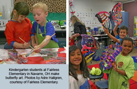 Kindergarten students at Fairless Elementary in Navarre, OH make butterfly art. Photos by Adre Hallgren, courtesy of Fairless Elementary.