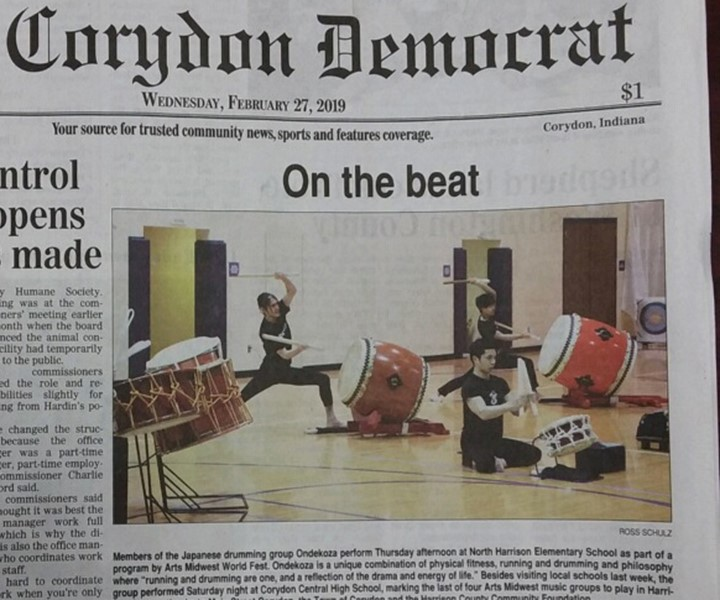 Ondekoza was featured on front page of Corydon Democrat news paper.