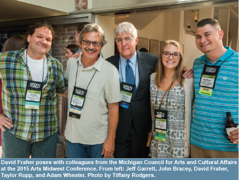 David Fraher poses with colleagues from the Michigan Council for Arts and Cultural Affairs at the 2015 Arts Midwest Conference. From left: Jeff Garrett, John Bracey, David Fraher, Taylor Rupp, and Adam Wheater. Photo by Tiffany Rodgers.