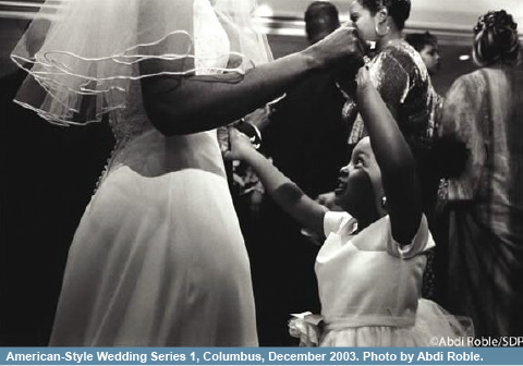 Roble's photograph from the Somali Documentary Project: American-Style Wedding Series 1, Columbus, December 2003.