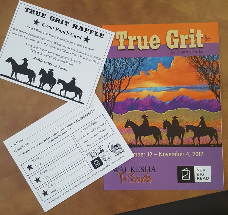 Poster with a Western scene, raffle ticket, and other materials from Waukesha's Big Read events