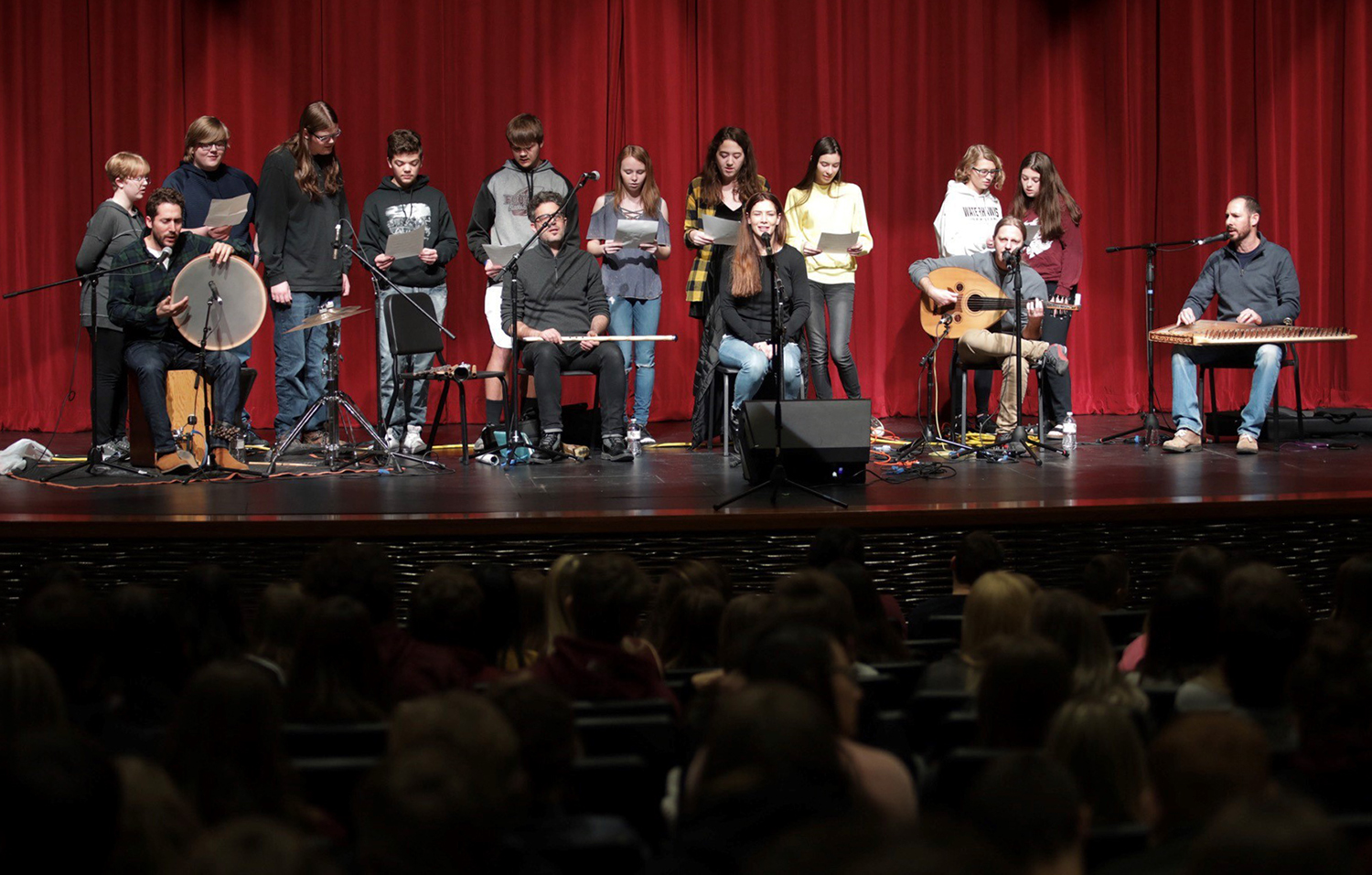 Choir students join Sofi at Prairie du Chien High School.