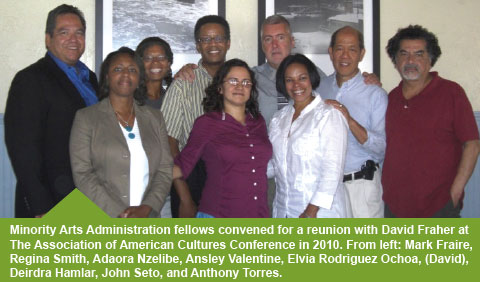 David reunites with Minority Arts Administration Fellows in 2010.