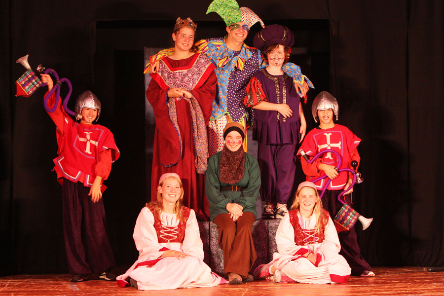 Cast of a children's play on stage