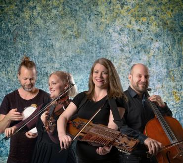 Emilia Amper Band. From left to right: Fredrik Gille (percussion), Erika Risinger (fiddle), Emilia Amper (nyckelharpa), and Anders Lofberg (cello).