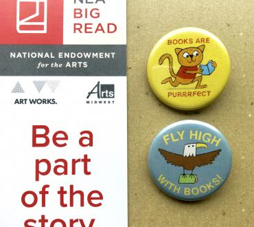 "The NEA Big Read bookmark which says ""Be a part of the story"" along with two buttons."