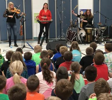 Band performing in an elementary school gym