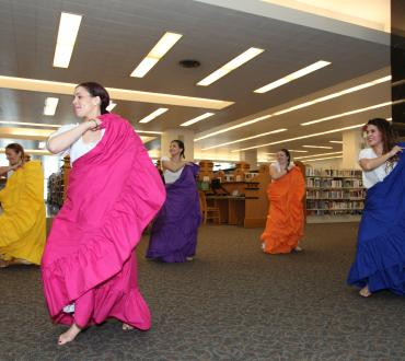 Dancers perform in the library