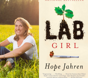 The cover of the book Lab Girl with a headshot of author Hope Jahren besides it