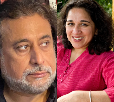 Two photos: on the left is a South Asian man with long black hair and a gray beard. On the right is a South Asian woman with shoulder-length black hair and a pink blouse.