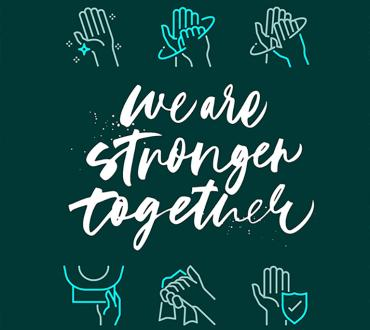Text on green background that reads We Are Stronger Together